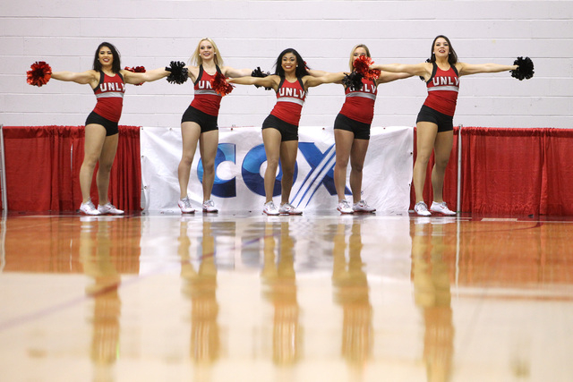 UNLV cheerleaders perform during their game against Colorado State Saturday, Feb. 7, 2015, at the Cox Pavilion. Colorado State won 55-43. (Sam Morris/Las Vegas Review-Journal)