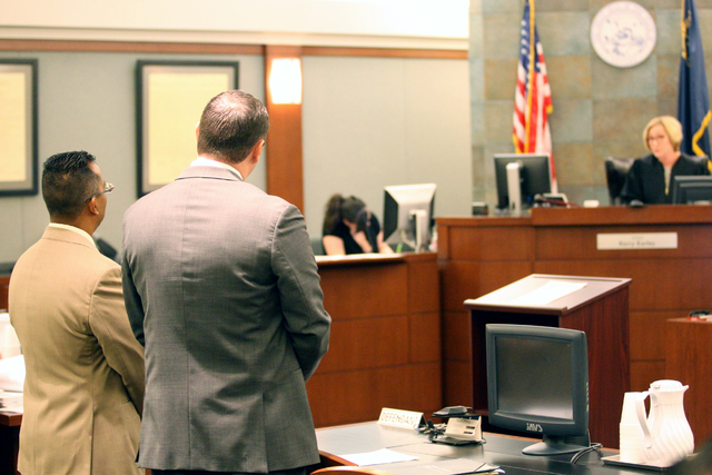 Former Democratic Assemblyman Steven Brooks appears before Judge Kerry Earley for sentencing at the Regional Justice Center, Jan. 6, 2014. (Michael Quine/Las Vegas Review-Journal)