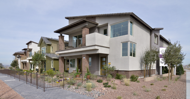 Model homes built by Woodside Homes are shown on Friday, Feb. 21, 2015, in Cadence, a 2,200-acre master planned community being built north of the intersection of Boulder Highway and Lake Mead Par ...