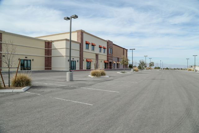 The back parking lot of the proposed campus for Coral Academy of Science is shown in the currently vacant shopping center at West Horizon Ridge Parkway and Green Valley Parkway, Henderson, Thursda ...