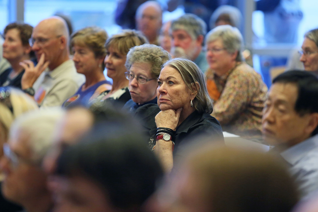 Virginia Barron, center right, sits among members of the public during a conversation about conservation issues in Southern Nevada at Lloyd D. George U.S. Courthouse, Wednesday, Feb. 18, 2015, in  ...