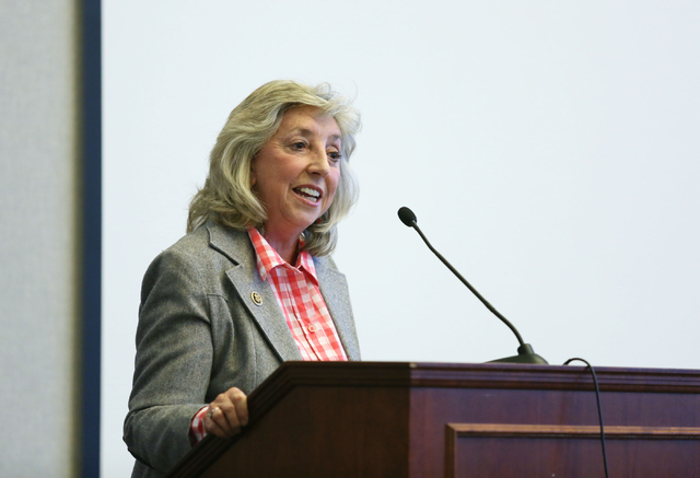 Rep. Dina Titus, D-Nevada, speaks during a conversation about conservation issues in Southern Nevada at Lloyd D. George U.S. Courthouse, Wednesday, Feb. 18, 2015, in Las Vegas.  (Ronda Churchill/R ...