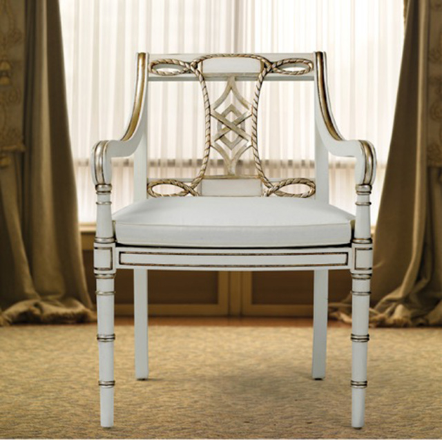 Courtesy Alden Parkes This Courtesan chair from Alden Parkes features a white finish with touches of gold and white.
