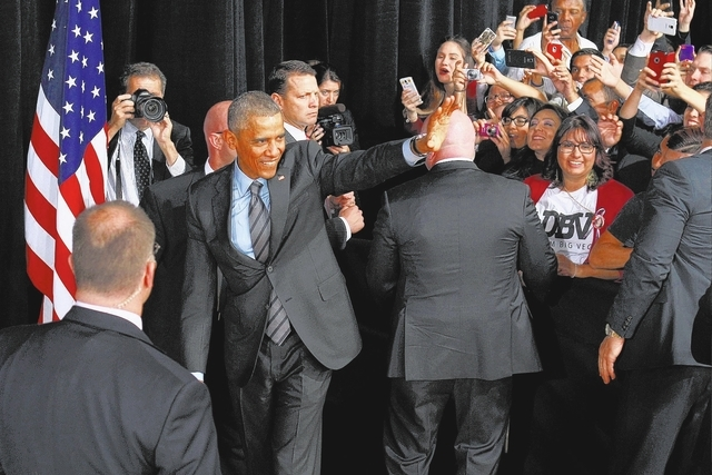 President Barack Obama wavers after speaking at an appearance at Del Sol High School to talk about immigration reform Friday, Nov. 21, 2014. (Sam Morris/Las Vegas Review-Journal)