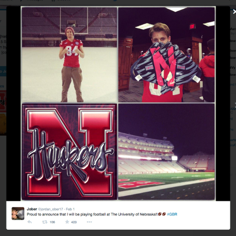 Bishop Gorman long snapper Jordan Ober is shown in his Twitter post Tuesday, Feb. 3, 2015, where he announced that he would be playing for Nebraska. (Twitter)