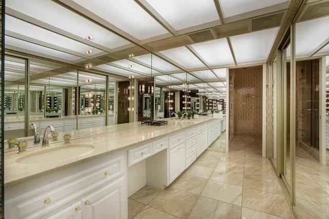 The mid-century modern home has a showgirl bathroom. (Courtesy)