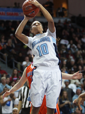 Centennial guard Jayden Eggleston lays in two points against Bishop Gorman during their Division I state championship game Friday, Feb. 27, 2015, at the Orleans Arena. (Sam Morris/Las Vegas Review ...