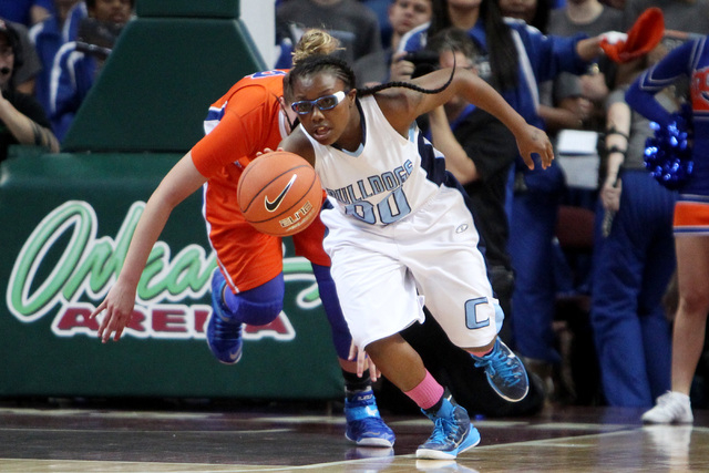 Centennial guard Tanjanae Wells runs a steal from Bishop Gorman up court during their Division I state championship game Friday, Feb. 27, 2015, at the Orleans Arena. (Sam Morris/Las Vegas Review-J ...
