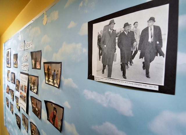 Dr. Robert Green, who served as Dr. Martin Luther King Jr.'s director of education, is shown at left in a photo with Dr. King, center, at Matt Kelly Elementary School at 900 J St. in Las Vegas on  ...