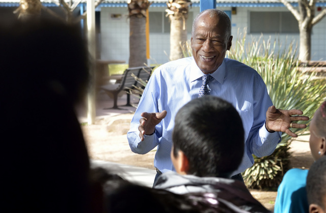 Dr. Robert Green, who served as Dr. Martin Luther King Jr.'s director of education, talks with fifth-graders during a visit to Matt Kelly Elementary School at 900 J St. in Las Vegas on Friday, Feb ...