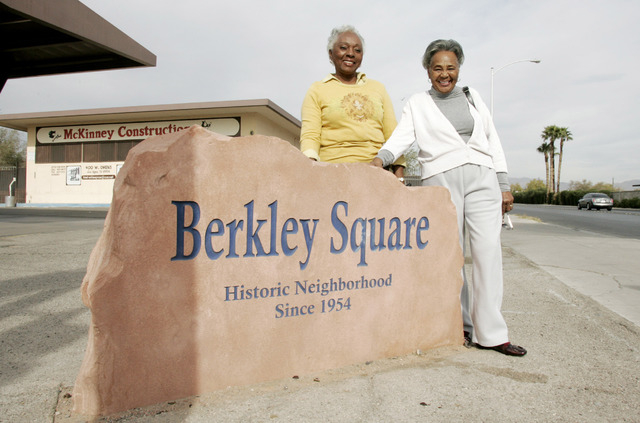 Ruth D'Hondt and Agnes Marshall stand next to a stone marquee marking the start of the Berkley Square neighborhood. (Las Vegas Review-Journal file)
