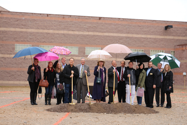 Dignitaries gather Jan. 30, 2015, at Faith Lutheran Middle School and High School, 2015 S. Hualapai Way, for a groundbreaking ceremony for the school's new Crusader Justice and Advocacy Mock Tr ...