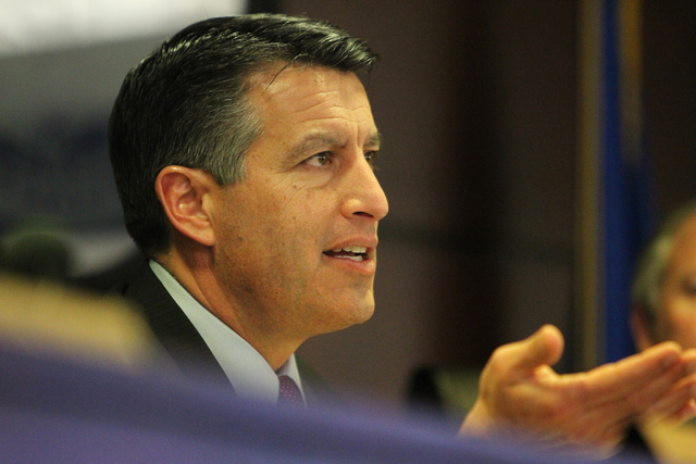 Nevada Gov. Brian Sandoval speaks during the Nevada Governor's Office of Economic Development board meeting at the Grant Sawyer Building in Las Vegas Thursday, Jan. 22, 2015. (Erik Verduzco ...