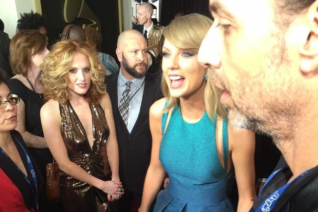 Taylor Swift on the red carpet at the 57th Annual GRAMMY Awards in Los Angeles on Sunday, February 8, 2015. (CNN)