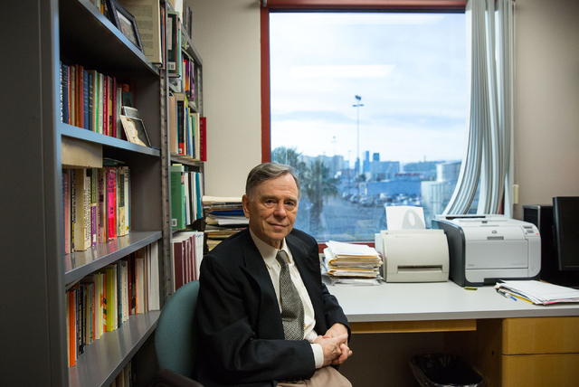 Dmitri Shalin, professor of sociology at UNLV, poses at his campus office Thursday, Jan. 22, 2015. Shalin attributes Nevada's suicide rate, in part, to a lack of mental health facilities available ...