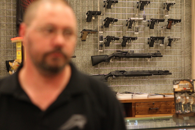 Guns are seen on display at The Range 702 in Las Vegas during an interview with Bill Smallwood, gunsman at The Range 702, on the store's partnership with the Nevada Office of Suicide Prevention We ...