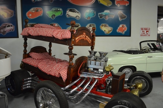 A bunk bed car is among Jay Ohrberg's original concept cars on display at the Hollywood Car Museum. (Ginger Meurer/View)