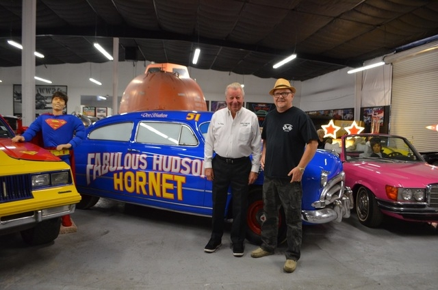 """Concept car legend Jay Ohrberg, left, and Hot Rod City """"Mayor"""" Steve Levesque, who bills himself as the mayor of Hot Rod City, welcome visitors Feb. 6 to the Hollywood Car Museum inside Hot Rod Ci ..."""
