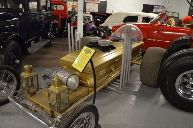 """Jay Ohrberg's remake of Grandpa Munster's Drag-u-la coffin dragster, as seen in the 1960s TV series """"The Munsters,"""" features a real coffin as a base topped by lanterns for headlights. The origin ..."""