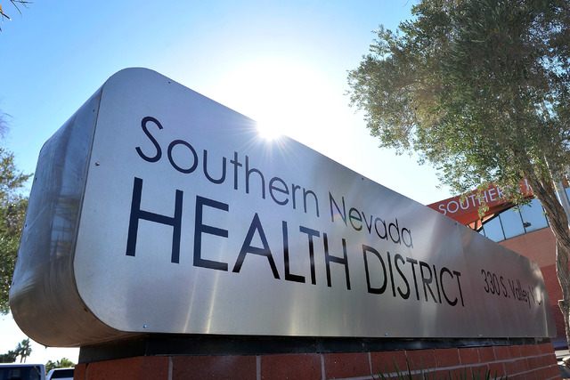 The monument sign for the Southern Nevada Health District is seen on Friday, Oct. 17, 2014. (David Becker/Las Vegas Review-Journal)
