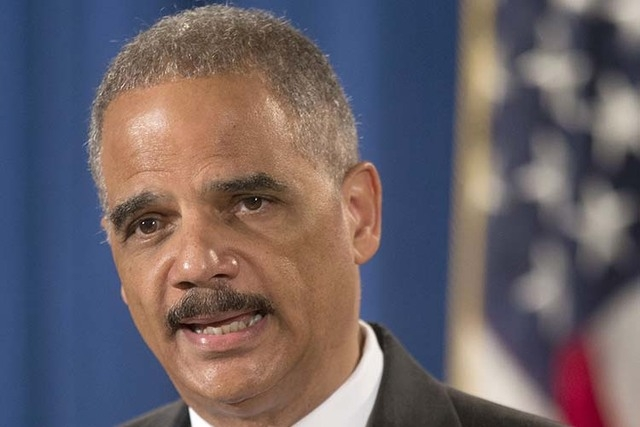 Attorney General Eric Holder speaking at the Justice Department in Washington. (Pablo Martinez Monsivais/AP File Photo)