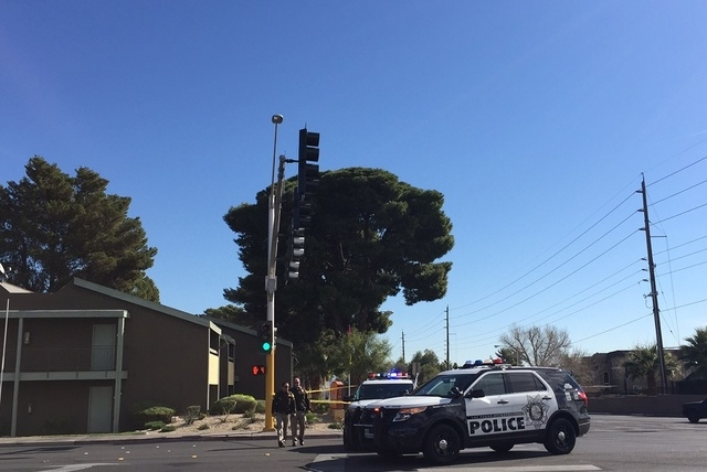 A pedestrian is in critical condition after being struck by a vehicle in the southeast valley Monday morning, according to police. (Chase Stevens/Las Vegas Review-Journal)