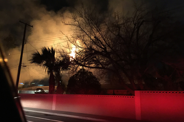 A woman was arrested Sunday night after she set three fires in a little more than a half-mile stretch in the central valley, according to the Las Vegas Fire Department. (Courtesy Las Vegas Fire &  ...