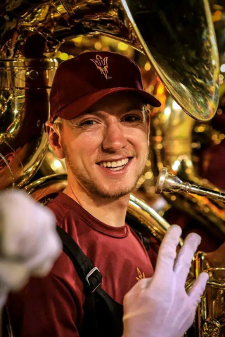 Austin Maul, former field goal kicker for the Rancho High football team, played tuba with the Arizona State marching band before the Super Bowl. Then he slipped into a 14-foot palm tree costume an ...