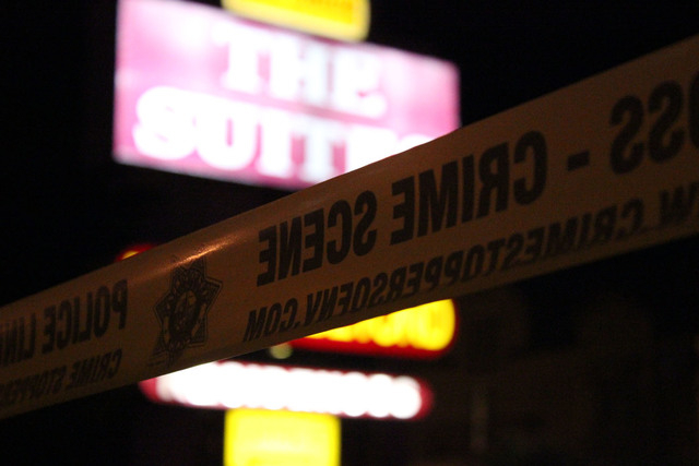 A man is in critical condition after being shot by police at the Suites, at 4855 Boulder Highway north of Flamingo Road. (Wesley Juhl/Las Vegas Review-Journal)