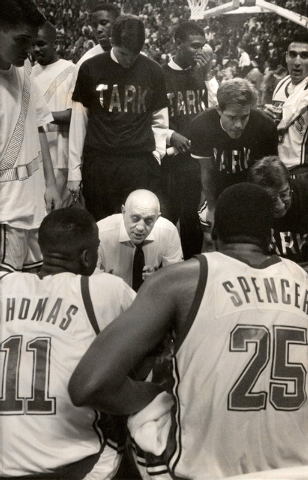 UNLV Rebels head basketball coach Jerry Tarkanian talks to his players during a time out at the Thomas & Mack Center in Las Vegas, March 5, 1992. (Jim Laurie/Las Vegas Review-Journal)