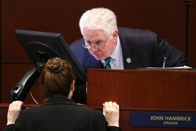 Nevada Assembly Speaker John Hambrick, R-Las Vegas, talks with Chief Clerk Susan Furlong on the Assembly floor at the Legislative Building in Carson City on Feb. 13, 2015. A notice of intent was f ...
