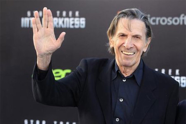 """Leonard Nimoy, cast member of the new film """"Star Trek Into Darkness,"""" poses as he arrives at the film's premiere in Hollywood, May 14, 2013. Nimoy died Friday, Feb. 27, 2015. He was 83. (Reuters/F ..."""