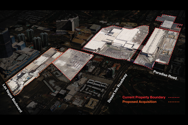 Illustration shows the existing buildings and property boundary with the proposed acquisition of the Riviera hotel-casino. (Courtesy, LVCVA)