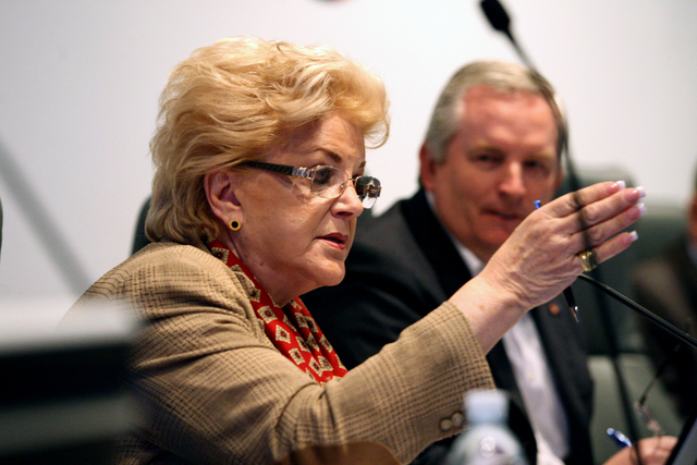 Mayor Carolyn Goodman expresses some of her concerns with the purchase of the Riviera hotel-casino before the LVCVA board of directors on Friday, February 20, 2015. (Michael Quine/Las Vegas Review ...