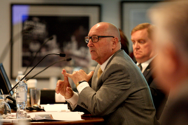 Rossi Ralenkotter, Preident/CEO of the Las Vegas Convention and Visitors Authority goes over key points before the LVCVA board of directors regarding the purchase of the Riviera hotel-casino for c ...