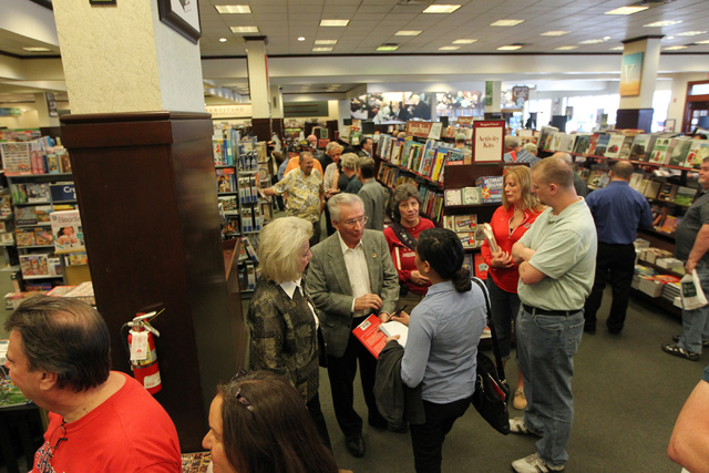 People wait in line during a book signing by U.S. Sen. Marco Rubio, R-Fla., of his book, American Dreams: Restoring the Land of Opportunity, at Barnes and Noble, 2191 N. Rainbow Blvd. Wednesday, F ...