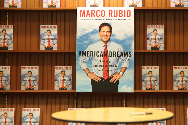 Books by U.S. Sen. Marco Rubio, R-Fla., American Dreams: Restoring the Land of Opportunity, are displayed during his book signing at Barnes and Noble, 2191 N. Rainbow Blvd. Wednesday, Feb. 18, 201 ...