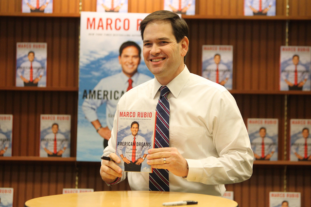 U.S. Sen. Marco Rubio, R-Fla., poses for a photo during a book signing of his book, American Dreams: Restoring the Land of Opportunity, at Barnes and Noble, 2191 N. Rainbow Blvd. Wednesday, Feb. 1 ...
