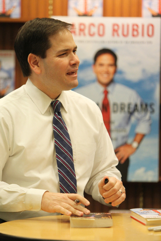 U.S. Sen. Marco Rubio, R-Fla., speaks during a book signing of his book, American Dreams: Restoring the Land of Opportunity, at Barnes and Noble, 2191 N. Rainbow Blvd. Wednesday, Feb. 18, 2015. (E ...