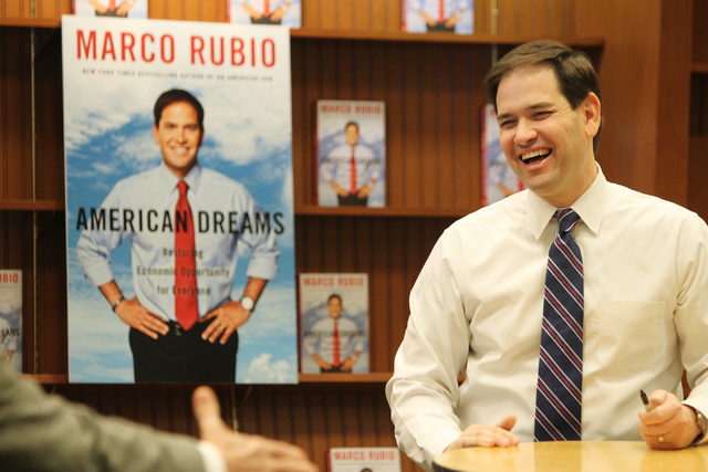 U.S. Sen. Marco Rubio, R-Fla., smiles as he meets with people during a book signing of his book, American Dreams: Restoring the Land of Opportunity, at Barnes and Noble, 2191 N. Rainbow Blvd. Wedn ...