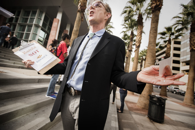 Bob Fulkerson, director of theProgressive Leadership Alliance of Nevada, speaks during a rally against Barrick Gold Corporation on Tuesday, Feb. 3, 2015  in front of the Regional Justice Court. Ab ...