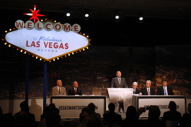 NHL Commissioner Gary Bettman speaks at an event to kick off an NHL ticket deposit drive being held to try and draw an NHL team to Las Vegas Tuesday, Feb. 10, 2015, at the MGM Grand. (Sam Morris/L ...