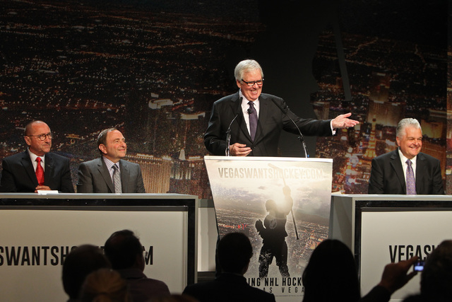 Bill Foley speaks during a news conference to kick off an NHL ticket deposit drive being held to try and draw an NHL team to Las Vegas Tuesday, Feb. 10, 2015, at the MGM Grand. From left are Rossi ...