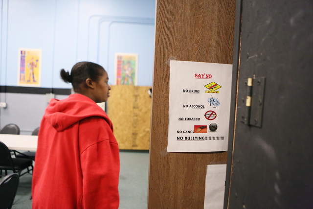 A sign is posted outside the tutoring center at the Richard Steele Boxing Club Wednesday, Jan. 21, 2015, in North Las Vegas. The club, which is owned by former boxing referee Richard Steele, offer ...