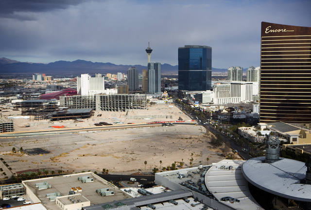 A view of the sites of the former New Frontier, foreground, and the unfinished Echelon development is seen Tuesday, Dec. 30, 2014 from the rooftop of Treasure Island, 3300 Las Vegas Boulevard Sout ...