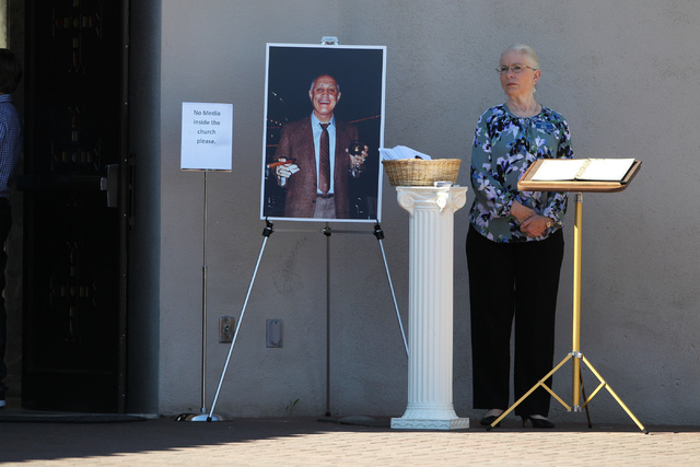 A picture of Jerry Tarkanian, UNLV hall of fame basketball coach, is seen during his private funeral at Our Lady of Las Vegas church in Las Vegas Monday, Feb. 16, 2015. (Erik Verduzco/Las Vegas Re ...