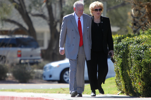 Oscar Goodman, left, and his wife Carolyn, mayor of Las Vegas, attend the private funeral for former UNLV hall of fame basketball coach Jerry Tarkanian at Our Lady of Las Vegas church in Las Vegas ...