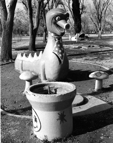 Fantasy Park included several pieces of playground equipment in the shape of characters form fairy tales, including a dragon, seen in 1986. (View file photo)