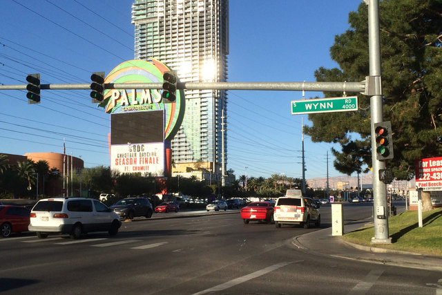 A man was injured in a hit-and-run as he crossed Flamingo Road near the Palms early Friday morning, Feb. 27, 2015. (Bizuayehu Tesfaye/Las Vegas Review-Journal)