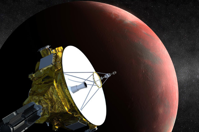 NASA's New Horizons spacecraft is the first probe sent to Pluto, and it's scheduled to arrive in July 2015. This is an artist's concept of the spacecraft flying past Pluto. (NASA/Johns Hopkins Uni ...